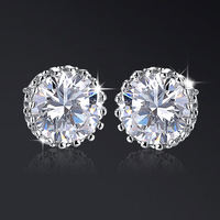 New Fashion Women Elegant Round Snowflake AAA Cubic Zirconia Copper Platinum Stud Earrings Wedding Jewelry