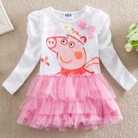 Girl Dress Real Full Velour Christmas 2014 Years Of New Children's Clothing Wholesale Peppa Pig/ Pig Pepe Girls Long Sleeved