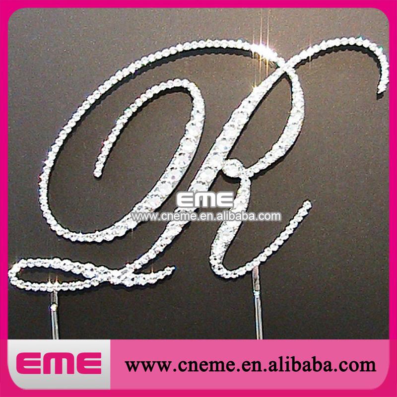 120mm Wholesale Monogram Cake Decoration wedding Decoration WordArt letter R Crystal Rhinestone cake topper DHL Free Shipping(China (Mainland))