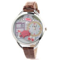 Korean Fine leather belt diamond watch Fashion Personality Stereo 3D Watch tide Fimo watch Women Dress Quartz WristWatch JW1712