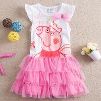 Vestidos Infantis Real Promotion Girl Dress Peppa Pig/ Pepe 2014 Summer Wear Short Sleeved Girls Bubble Pig Princess Cake Dress