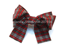 FreeShipping 12pcs/lot Large Plaid Cotton bow hair clip Three layers Hair Bow with tails F81060 3colors