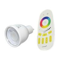 1pcs 2.4G GU10 4W RGB+White / RGB+Warm White LED Spot Light Bulb Lamp + Remote Controller 85-265V