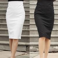 Elegant Women High Waist Knee-Length Pencil Skirt Female Slim Hip Career Cotton Blend Skirt  Plus Size S-XL Black/White