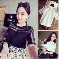 2014  the influx of white short-sleeved shirt bottoming stitching gauze chiffon shirt (provision stitching T) free shipping