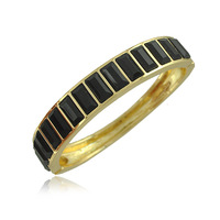 2014 New 18K Gold Plated High Quality Metal Bangles With Square Black Crystal Bangles Bracelet Jewelry