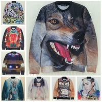New Fashion Women/Man 3D Sweatshirt Popular Pattern Wolf/Cartoon/Girl/Vintage/harajuku Style Hoodies Casual Brand Sweater Coat
