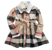 1 piece free shipping 20104 Fall Children  Dress Girl One-piece Long sleeve Casual  A-Line Plaid Dress Bow Sash Shirt Dress