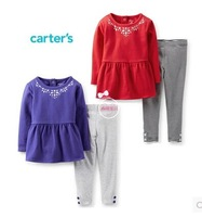 New Arrival ,Carters Original Baby Girls 2-Piece Necklace Tunic & Legging Set  ,Girls Spring And Autumn Set,Freeshipping