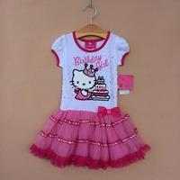 summer girls dress children's clothing  tutu  cotton cartoon cat with 3d bow veil  dress cake dress   ETJ-Q0194