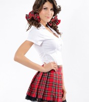 Sweet Women Cosplay School Uniform Fashion Halloween Stage Uniforms Cool Crazy Red Plaid Skirt + White Shirt Dress-up Costumes