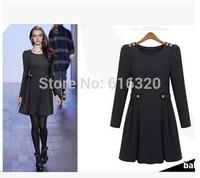 S M L XL Plus Size Long Sleeve Dress Temperament Gray Thicken Woolen Winter Dress 607/8668