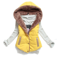 New 2014 Winter Vest Women Quilted Vest Waistcoat Slim Thermal Cotton Velvet Vest With Hood Plus Size M-XXXL  6 Colors Optional