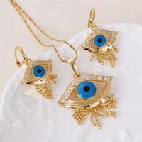 Evil Eyes Blue 18k Yellow Gold GF Bid Swarovsk Crystals Necklace Earrings Set  Free Shipping