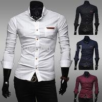 Fashion design casual men's leather standard pockets Slim long-sleeved shirt