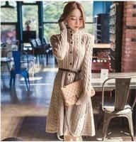 Autumn Winter Warm Long Sleeve Wool Turtleneck Sweater Long Cardigans Knitted Sweater Dress 2014 Female Single Breasted Coat