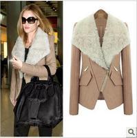 2014 winter new fashion wool coat lapel Slim cashmere Fur collar coat jacket high quality Size S - XXL 2 colors
