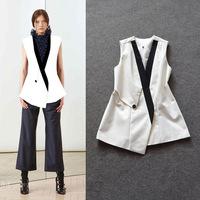High Quality New Designer Fashion 2014 Autumn Women's Vest Coat Black White Color Block Covered Button Casual Vest Outerwear