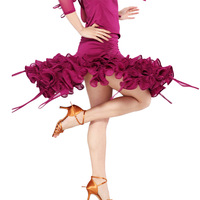 Evidenced Latin dance clothes cake Latin dance spiral skirt dance clothes set hb139