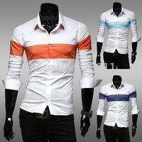 Brilliant fashion casual mens stripe spell color long-sleeved Slim shirt