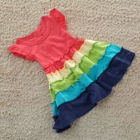 Lovely flower girls dress costume frill colored stitching sweet