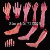 5pcs/set Halloween haunted house prop lifelike bar supplies those trick terrorist broken finger hand blood foot Free Shipping