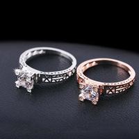 New hot Fashion Elegant 18k rose gold plated CZ Diamond jewelry Romantic Tower Crystal zircon rings women Accessories M12