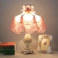 free shipping European-style luxury princess lace rural desk lamp