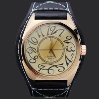 Nice Black Band Men's Big Face Watch Men Analog Gifts Quartz Wrist Watches Boy Teenager PU Leather Hours Clocks, Free Shipping