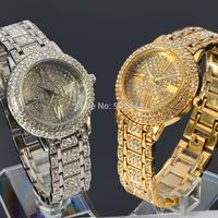 Diamond Crystal Gold Silver Case Womens Ladies Anlaog Quartz Steel Band Wrist Watch W120D