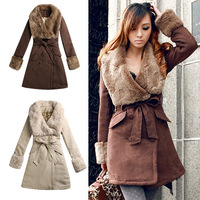 2014 New Fur Big Turn-Down Collar Wide Double Breasted Slim Women Winter Cotton Coats/Jackets YFZ63