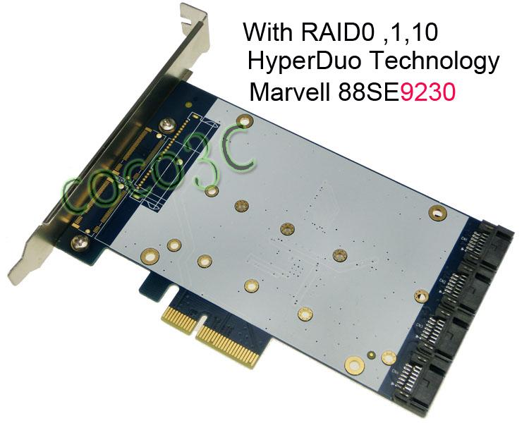 Quad SATA 3.0 Port PCI-e RAID Card HyperDuo 4 Ports SATA 6Gbps 3.0 SSD + HDD PCI Express card Built RAID0 RAID1 RAID10(China (Mainland))