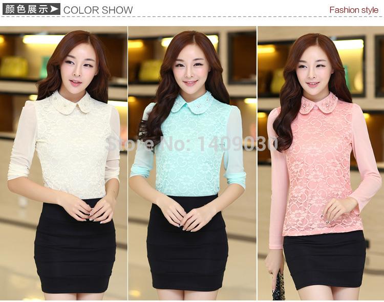 Free shipping women blouses 2014 autumn outfit new Korean Slim lace blouse stand collar primer blusas femininas camisas(China (Mainland))