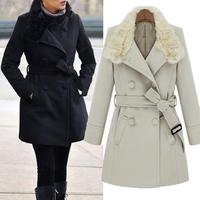2014 Women Winter Fur Collar Double Bleasted Strappy Shaped Woollen Dust Coat Outwear #65538