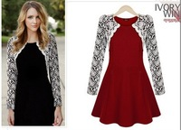 New 2014women spring Summer Autumn lace patchwork dress flower black red Slim Female Fashion party Dresses cute casual vestidos