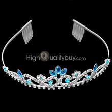 New Bridal Sky Blue Crystal Rhinestone Wedding Headband Tiara Hair Accessory
