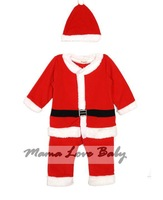 3 PCS/LOT Free Shipping Unisex Baby Clothing Set Kids Christmas Jumpsuit Santa Costume Jumpsuit Child Clothings SV006489