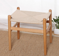 1 piece beech wood with rattan cushion Hans Wegner low stool
