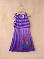 Children dress ! summer Girls sleeveless dress purple striped  cartoon princess  dress  wedding dress   ETJ-Q0199
