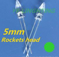 Ultra bright Green 5mm Rocket dip led 520-525nm 3.0-3.5V for Christmas tree strip led