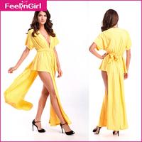 2014 Newest Cut Out Club Yellow Maxi Long Dress Elegant Deep V-neck High Slit Women Vestidos Ankle-Length Casual Prom Dress