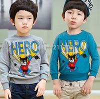 2014 fashion boy girl letter T shirts kids autumn gray/blue cartoon tshirt full sleeve terry tops for Children
