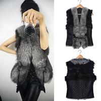 Hot New! Short Female Faux Fox Fur Vest Leather Plus Size Ladies Winter Gilet Outerwear Women's Vest Coat NZ194