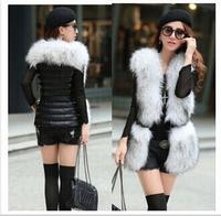 Fashion 2014 winter women's faux fur faux ladies vest Slim big raccoon fur imitation sheepskin
