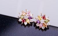 Bamoer 18K Gold  Earrings with Multicolor Zircon