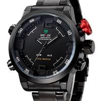 WEIDE Men's Military Watches Men Top Luxury Brand Full Steel Quartz Watch LED Display Sports Wristwatch 30M Water Resistant