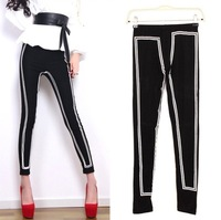 women Leggings 2014 Black and white print sexy slim feet Leggings women Digital Printing sport Stretch Leggings for girls,DD95