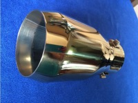 UNIVERSAL Tip 6.8cm Inlet Gold Stainless Steel Exhaust Resonator Muffler