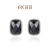 ROXI 2014 autumn new design stud earrings women silver color black Genuine Austrian Crystals earring free shipping