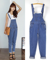 2014 Autumn Winter Casual Women Denim Jumpsuit Overalls Loose Jeans Long Romper Overall For Female Girl 77907